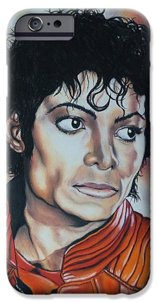 Michael Pastels iPhone Cases - Michael Jackson iPhone Case by Kevin Hubbard