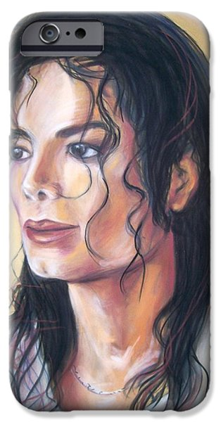 Michael Pastels iPhone Cases - Michael Jackson iPhone Case by Martha Suhocke