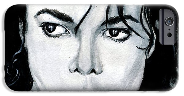 Michael Jackson Paintings iPhone Cases - Michael Jackson Portrait iPhone Case by Alban Dizdari