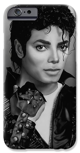 Smooth Criminal iPhone Cases - Michael Jackson Portrait Bad Era iPhone Case by Stephenie Bronger
