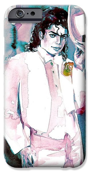 Michael Jackson Paintings iPhone Cases - MICHAEL JACKSON - portrait.17 iPhone Case by Fabrizio Cassetta