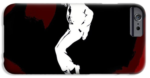 Mj Digital Art iPhone Cases - Michael Jackson Red Silhouette iPhone Case by Dan Sproul