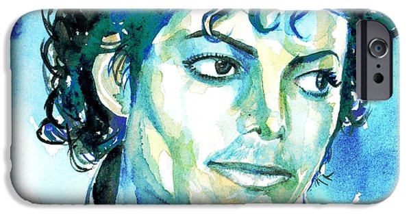 Michael Jackson Paintings iPhone Cases - MICHAEL JACKSON - watercolor portrait.1 iPhone Case by Fabrizio Cassetta