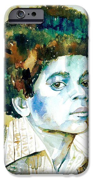 Michael Jackson Paintings iPhone Cases - MICHAEL JACKSON - watercolor portrait.12 iPhone Case by Fabrizio Cassetta