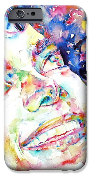 Michael Jackson Paintings iPhone Cases - MICHAEL JACKSON - watercolor portrait.13 iPhone Case by Fabrizio Cassetta