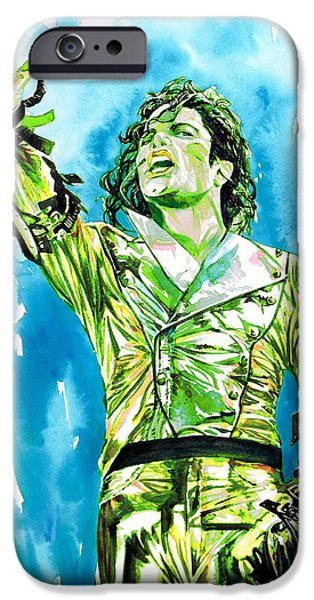 Michael Jackson Paintings iPhone Cases - MICHAEL JACKSON - watercolor portrait.14 iPhone Case by Fabrizio Cassetta