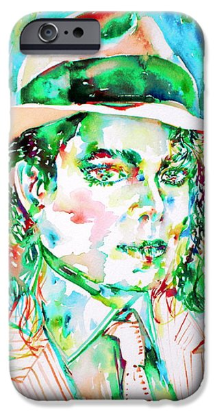 Michael Jackson Paintings iPhone Cases - MICHAEL JACKSON - watercolor portrait.15 iPhone Case by Fabrizio Cassetta