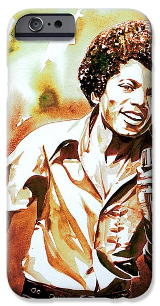 Michael Jackson Paintings iPhone Cases - MICHAEL JACKSON - watercolor portrait.18 iPhone Case by Fabrizio Cassetta