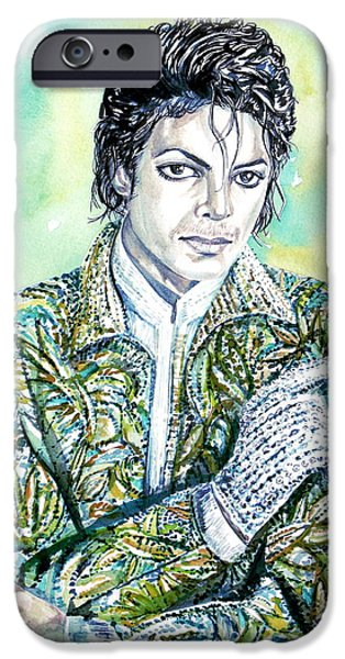 Michael Jackson Paintings iPhone Cases - MICHAEL JACKSON - watercolor portrait.19 iPhone Case by Fabrizio Cassetta