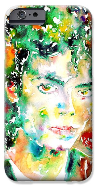 Michael Jackson Paintings iPhone Cases - MICHAEL JACKSON - watercolor portrait.4 iPhone Case by Fabrizio Cassetta