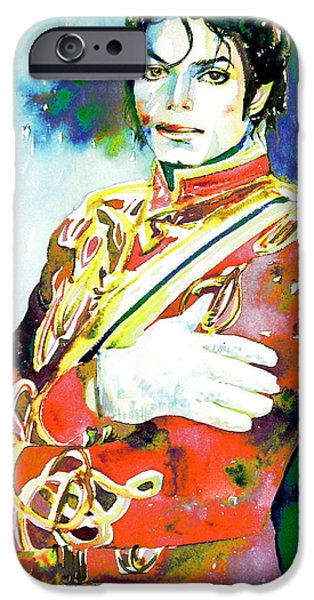 Michael Jackson Paintings iPhone Cases - MICHAEL JACKSON - watercolor portrait.5 iPhone Case by Fabrizio Cassetta