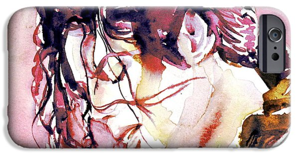 Michael Jackson Paintings iPhone Cases - MICHAEL JACKSON - watercolor portrait.7 iPhone Case by Fabrizio Cassetta