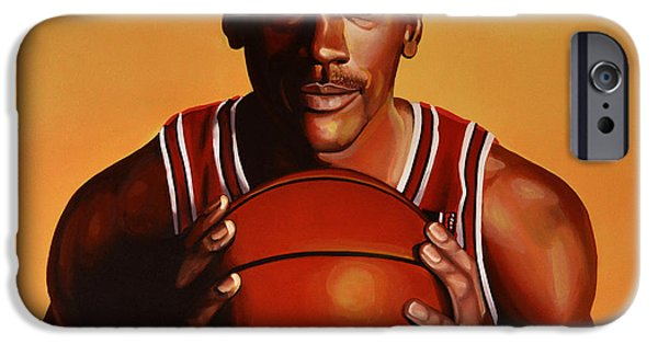 Idol Paintings iPhone Cases - Michael Jordan 2 iPhone Case by Paul Meijering