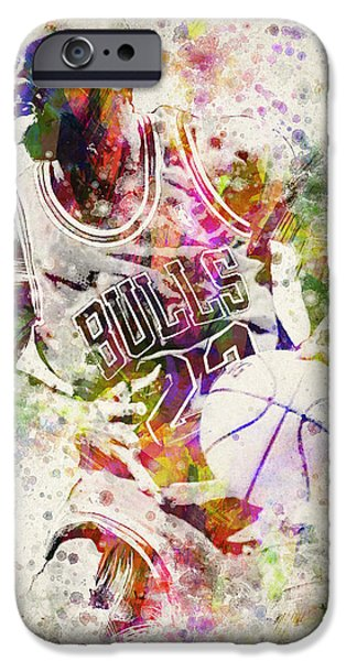 Washington Digital Art iPhone Cases - Michael Jordan iPhone Case by Aged Pixel