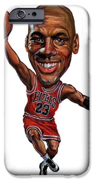 Basketball Paintings iPhone Cases - Michael Jordan iPhone Case by Art