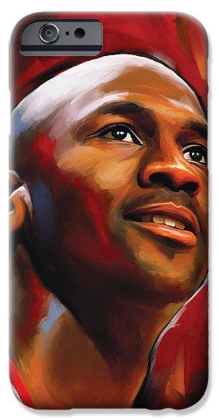 Michael Jordan Artwork 2 iPhone Case by Sheraz A