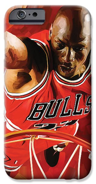 Jordan Mixed Media iPhone Cases - Michael Jordan Artwork 3 iPhone Case by Sheraz A