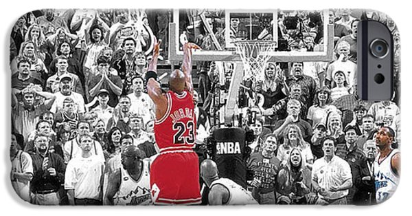 Selective Color iPhone Cases - Michael Jordan Buzzer Beater iPhone Case by Brian Reaves
