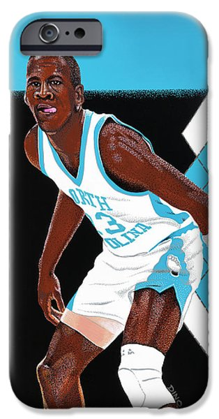 Recently Sold -  - Michael Paintings iPhone Cases - Michael Jordan Carolina Blues iPhone Case by Dino Murphy