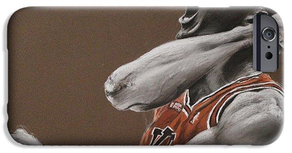 Bulls Pastels iPhone Cases - Michael Jordan - Chicago Bulls iPhone Case by Prashant Shah