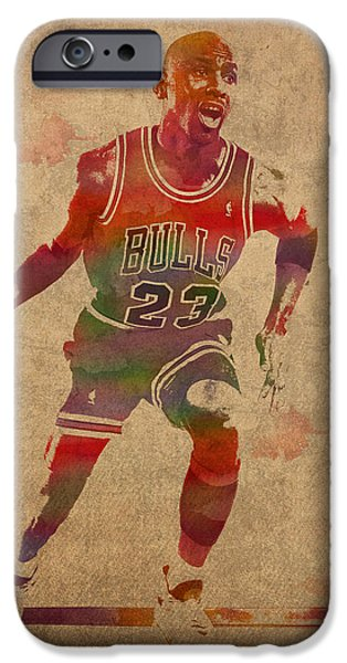 Bulls Mixed Media iPhone Cases - Michael Jordan Chicago Bulls Vintage Basketball Player Watercolor Portrait on Worn Distressed Canvas iPhone Case by Design Turnpike
