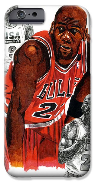Michael Drawings iPhone Cases - Michael Jordan iPhone Case by Cory Still