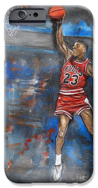 Slam Mixed Media iPhone Cases - Michael Jordan Dunk iPhone Case by Charlie Palline