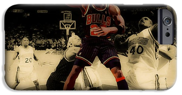 Pippen iPhone Cases - Michael Jordan Easy Two iPhone Case by Brian Reaves