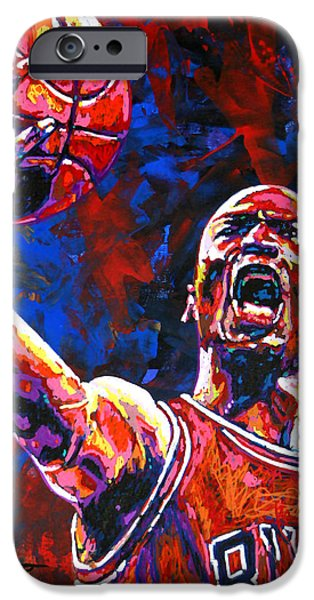 Summer Sports Paintings iPhone Cases - Michael Jordan Layup iPhone Case by Maria Arango