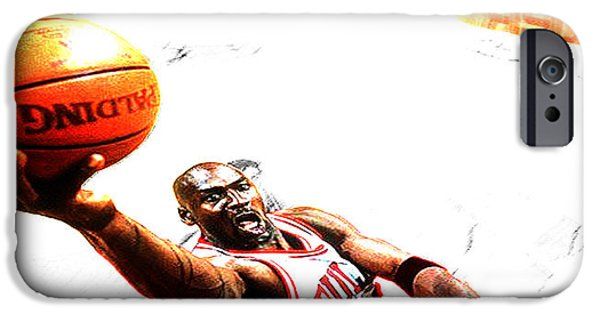 John Stockton iPhone Cases - Michael Jordan Lift Off iPhone Case by Brian Reaves