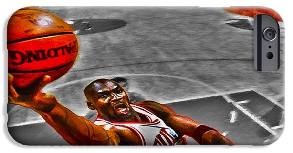 John Stockton iPhone Cases - Michael Jordan Lift Off II iPhone Case by Brian Reaves