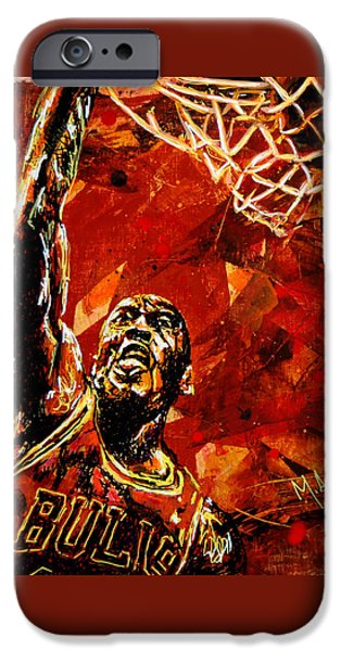 B iPhone Cases - Michael Jordan iPhone Case by Maria Arango