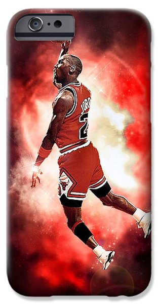 Michael Jordan iPhone Case by NIcholas Grunas Cassidy