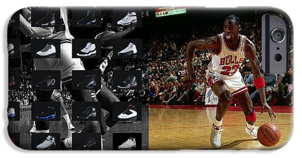 Best Sellers -  - Basket iPhone Cases - Michael Jordan Shoes iPhone Case by Joe Hamilton