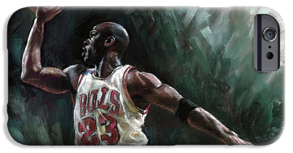Jordan iPhone Cases - Michael Jordan iPhone Case by Ylli Haruni