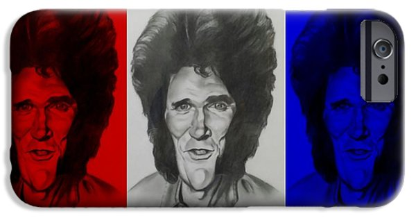 Patriotic Art Drawings iPhone Cases - Michael Landon Americana iPhone Case by Rob Hans