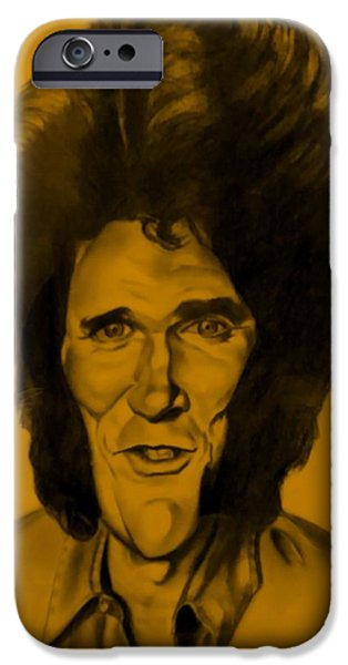 Rust Drawings iPhone Cases - Michael Landon Orange iPhone Case by Rob Hans