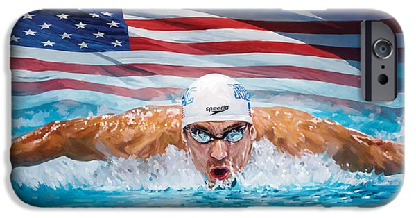 Sport Portraits Mixed Media iPhone Cases - Michael Phelps Artwork iPhone Case by Sheraz A