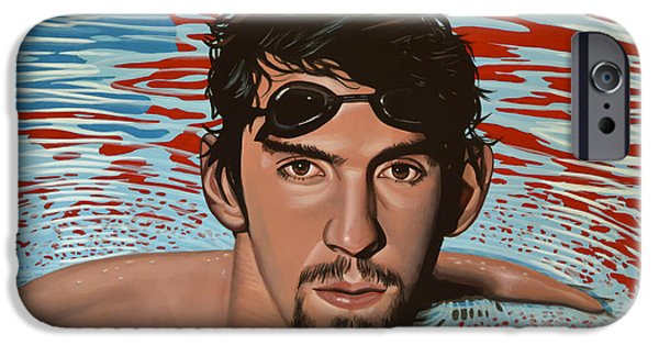 Michael Paintings iPhone Cases - Michael Phelps iPhone Case by Paul  Meijering