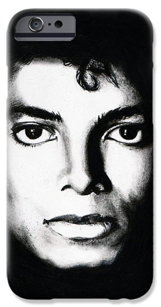Mj Drawings iPhone Cases - Michael Portrait iPhone Case by Elizabeth Moug
