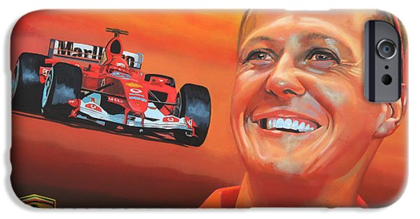 Michael Paintings iPhone Cases - Michael Schumacher 2 iPhone Case by Paul  Meijering