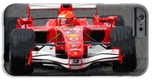 Michael Schumacher iPhone Cases - Michael Schumacher Canadian Grand Prix II iPhone Case by Clarence Holmes