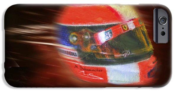Michael Schumacher iPhone Cases - Michael Schumacher Helmet iPhone Case by Blake Richards