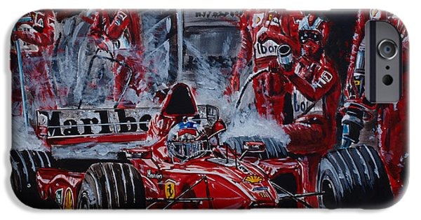 Michael Schumacher iPhone Cases - Michael Schumacher out of the darkness iPhone Case by Juan Mendez