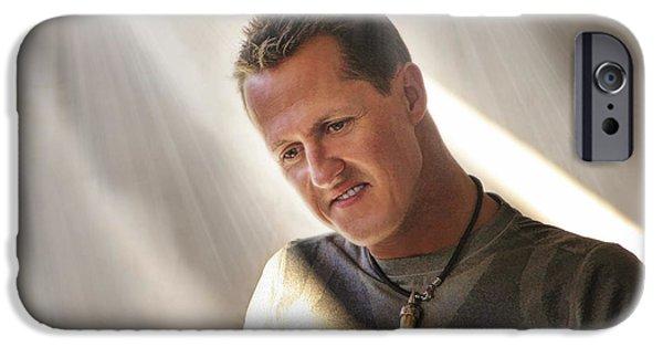 Michael Schumacher iPhone Cases - Michael Schumacher The Legend iPhone Case by Blake Richards