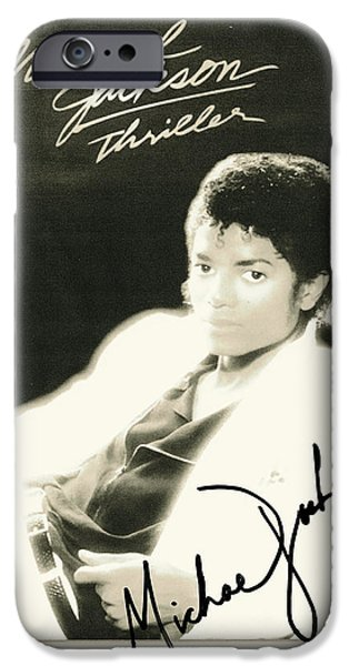 Michael Mixed Media iPhone Cases - Micheal Jackson Signed Thriller Poster iPhone Case by Desiderata Gallery