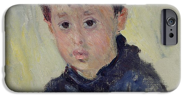 Young iPhone Cases - Michel Monet 1878-1966 In A Blue Jumper, 1883 Oil On Canvas iPhone Case by Claude Monet