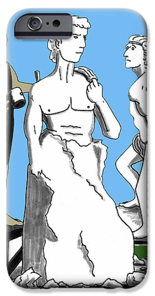 Work Tool Mixed Media iPhone Cases - Michelangelo Carving David iPhone Case by Lee Serenethos