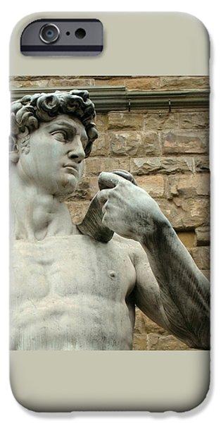 Michelangelo iPhone Cases - Michelangelos David 1 iPhone Case by Ellen Henneke