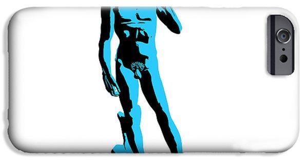 Michelangelo iPhone Cases - Michelangelos David - Stencil style iPhone Case by Pixel Chimp